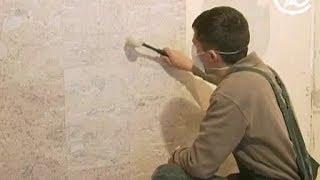 видео Декоративная отделка песчаником стены в парной