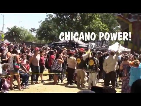 Mestizo & Aztlan Flags Hoisted over Liberated Territory at Chicano Park in San Diego