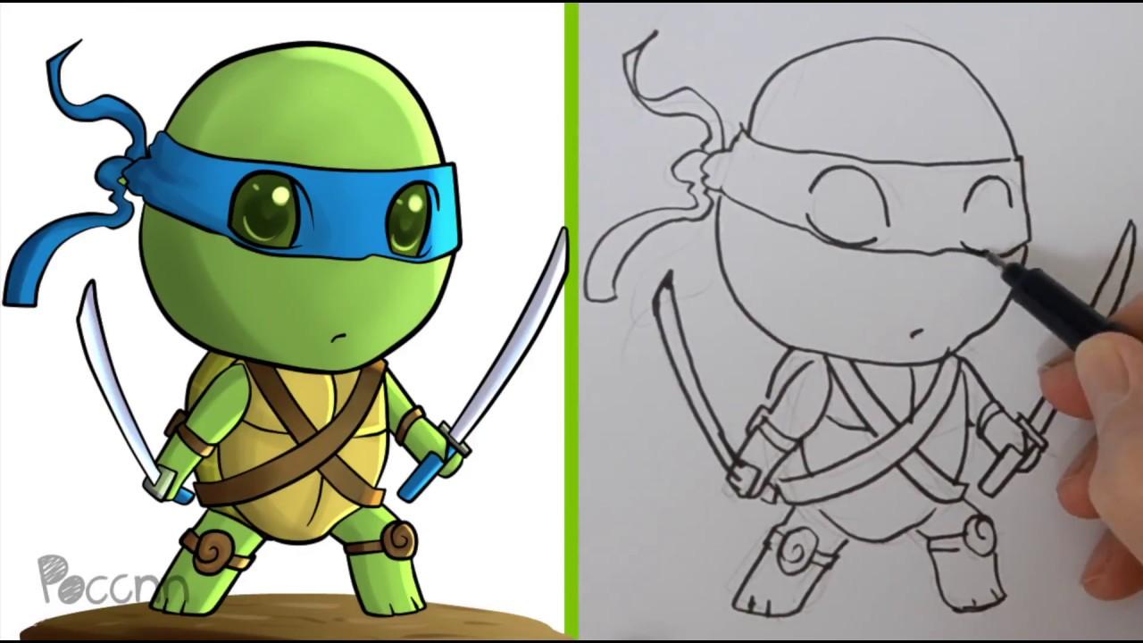 Cómo Dibujar A Leonardo Chibi Tortugas Ninja