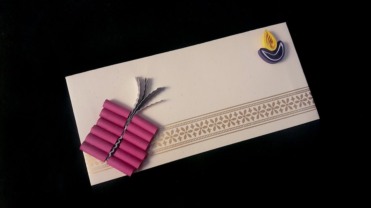 Paper quilling craft tutorial 8 for diwali festival envelope paper quilling craft tutorial 8 for diwali festival envelope decoration ekunji reheart Images