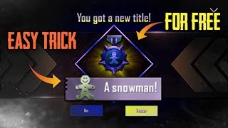 How to get SNOWMAN, Sculptor, Cleaner Title in PUBG Mobile | Get All Title in PUBG Mobile