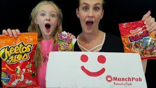 MunchPak Unboxing!! Trying Amazing Treats From Around the World!! Kids Taste Test