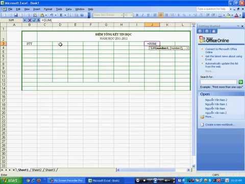 Basic Tạo bảng trên excel 2003
