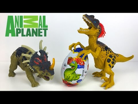 ANIMAL PLANET LIGHT AND SOUND DINOSAURS VELOCIRAPTOR STRYACOSAURUS DINO SURPRISE EGG - UNBOXING