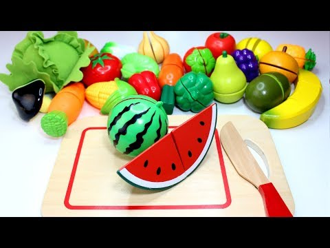 Learn Fruits & Vegetables For Kids Velcro Food Cutting Fruit Names Toys Play & Learn Preschoolers