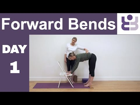 Improve Your Forward Bends in 7 Days. Day 1. Uttanasana Heels lifted. Iyengar yoga for Beginners.