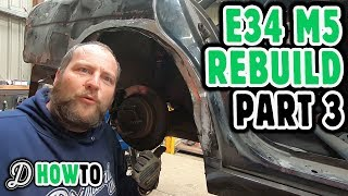 Cutting & Tubbing arches, new rear panel for BMW E34 S62 V8 Drift Car