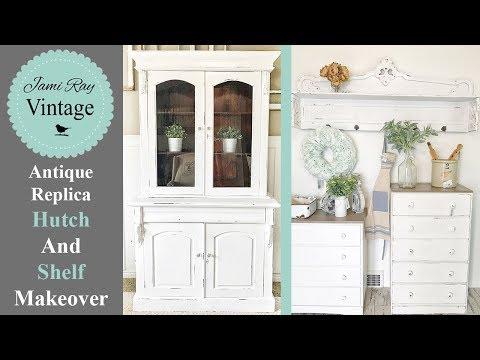 Antique Replica Hutch and Shelf Makeover