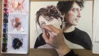 Watercolor Painting of Amanda Palmer and Neil Gaiman
