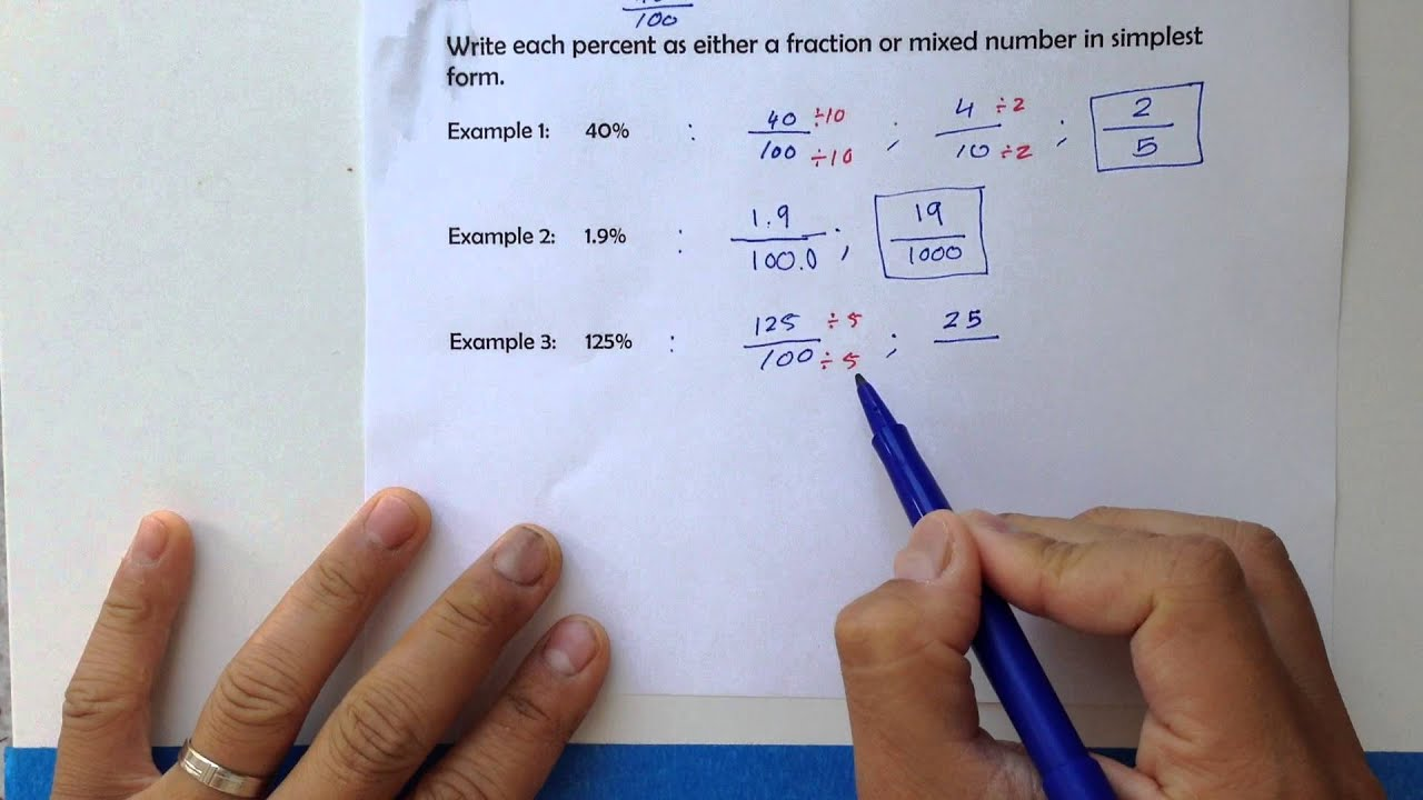 Writing each percent as a fraction and vice versa [6.2 whole ...