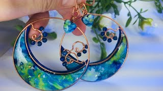 Jewelry.Earrings with Amazing Faux Opal Stone.Using Different Polymer clay Techniques. Part 1.
