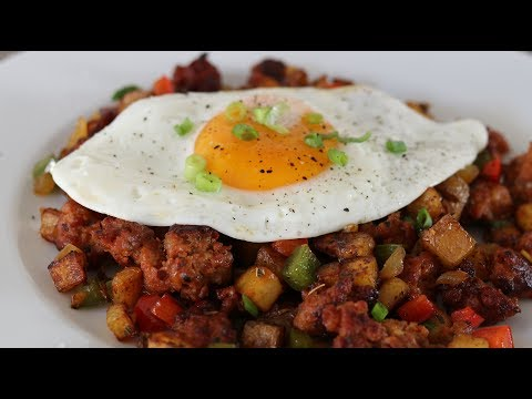 Mexican Chorizo Breakfast Hash With Potatoes And Fried Egg Sunny Side Up Recipe