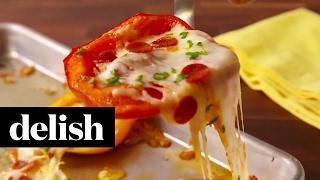 Mini Pepper Pizzas | Delish
