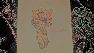 How to draw Anime in a tiger costume (Animal Costume) - Easy & Quick! - Chibi Version - DiyaCake