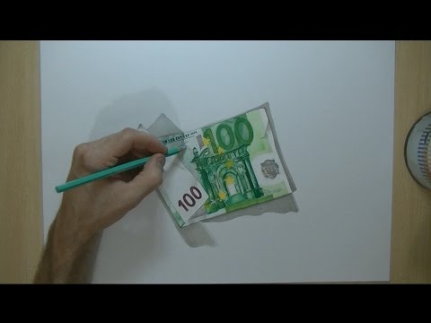 How I draw a 100 euro banknote - 3D Trick Art