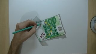 how i draw a 100 euro banknote 3d trick art