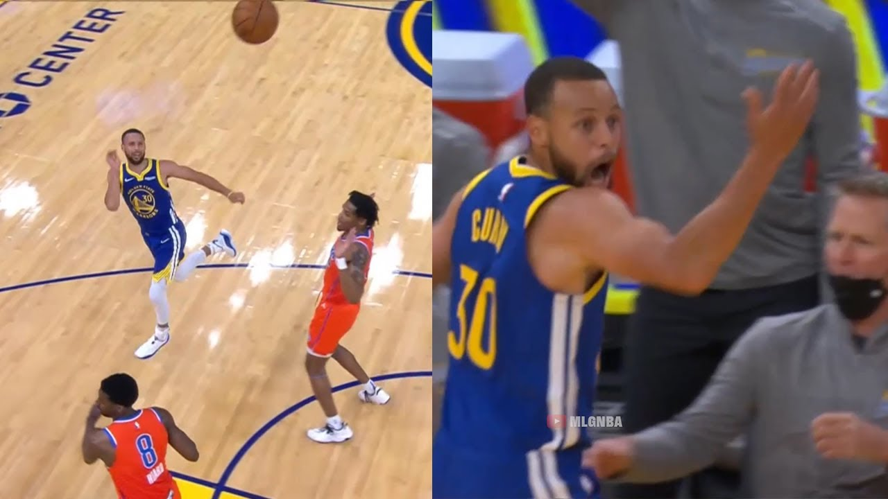 Steph Curry hits an incredible shot but it doesn't count👀 GSW vs OKC