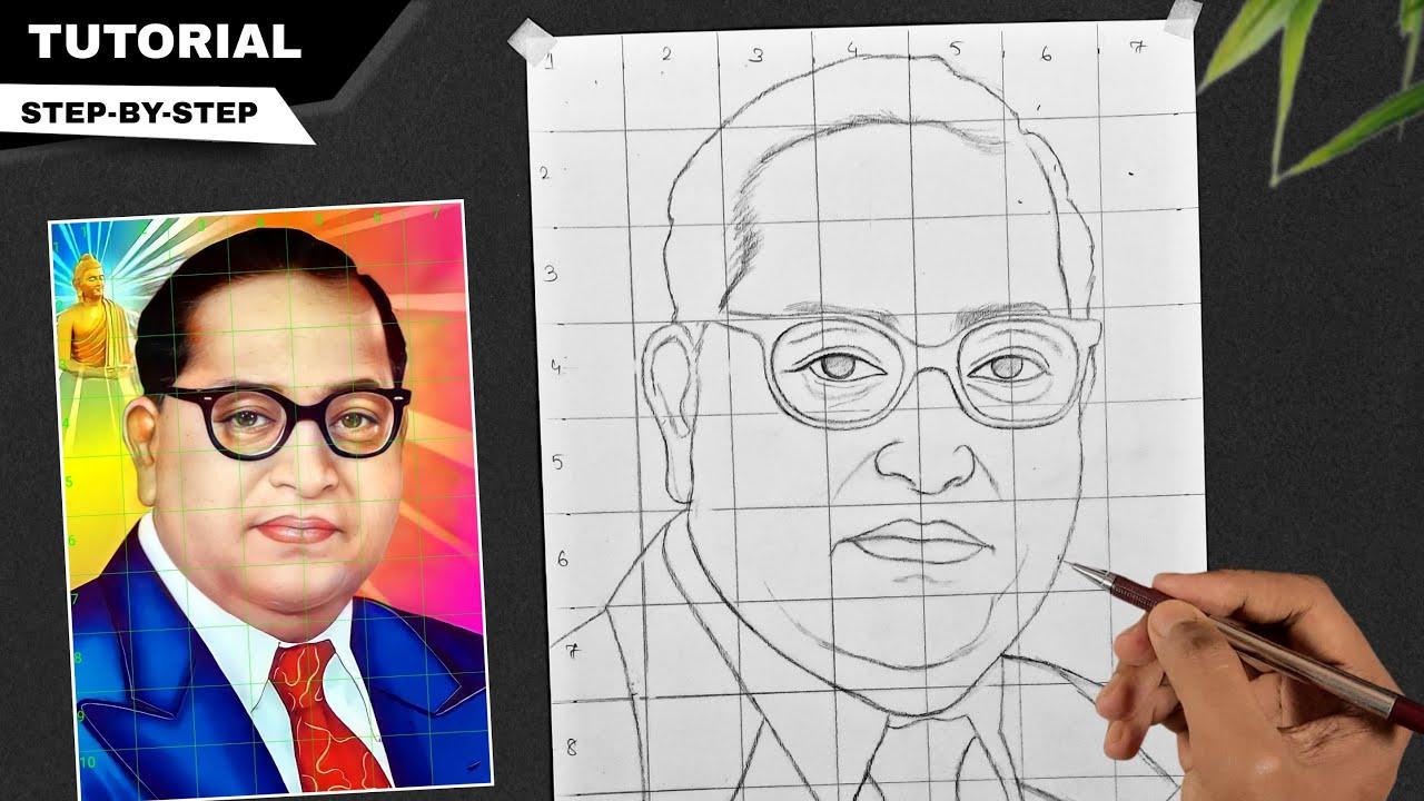Download How to draw Dr BR Ambedkar step by step, Grid method drawing Tutorial,  Sanju Arts