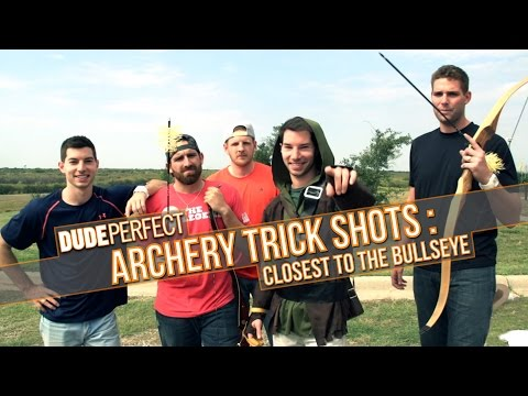 DUDE PERFECT   Archery Trick Shots: Closest To The Bullseye
