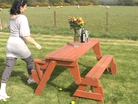 Bench converts to picnic table - YouTube