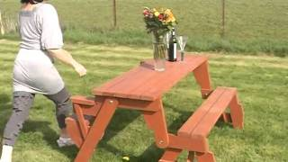 Bench Converts To Picnic Table
