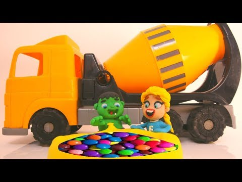 SUPERHERO BABIES & CEMENT MIXER SURPRISE ❤ Hulk & Frozen Elsa Play Doh Cartoons For Kids