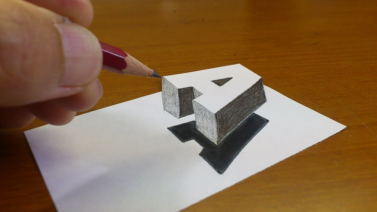 Very Easy How To Drawing 3d Floating Letter A 2 Anamorphic