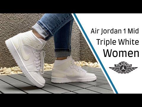 white air jordan 1 mid on feet