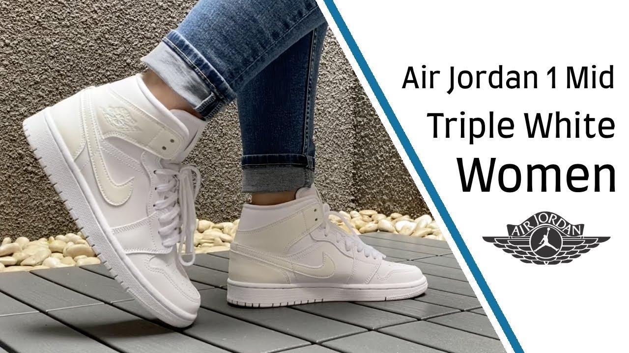 "Women's Air Jordan 1 Mid ""Ivory White"" - On Feet & Close Up 360"