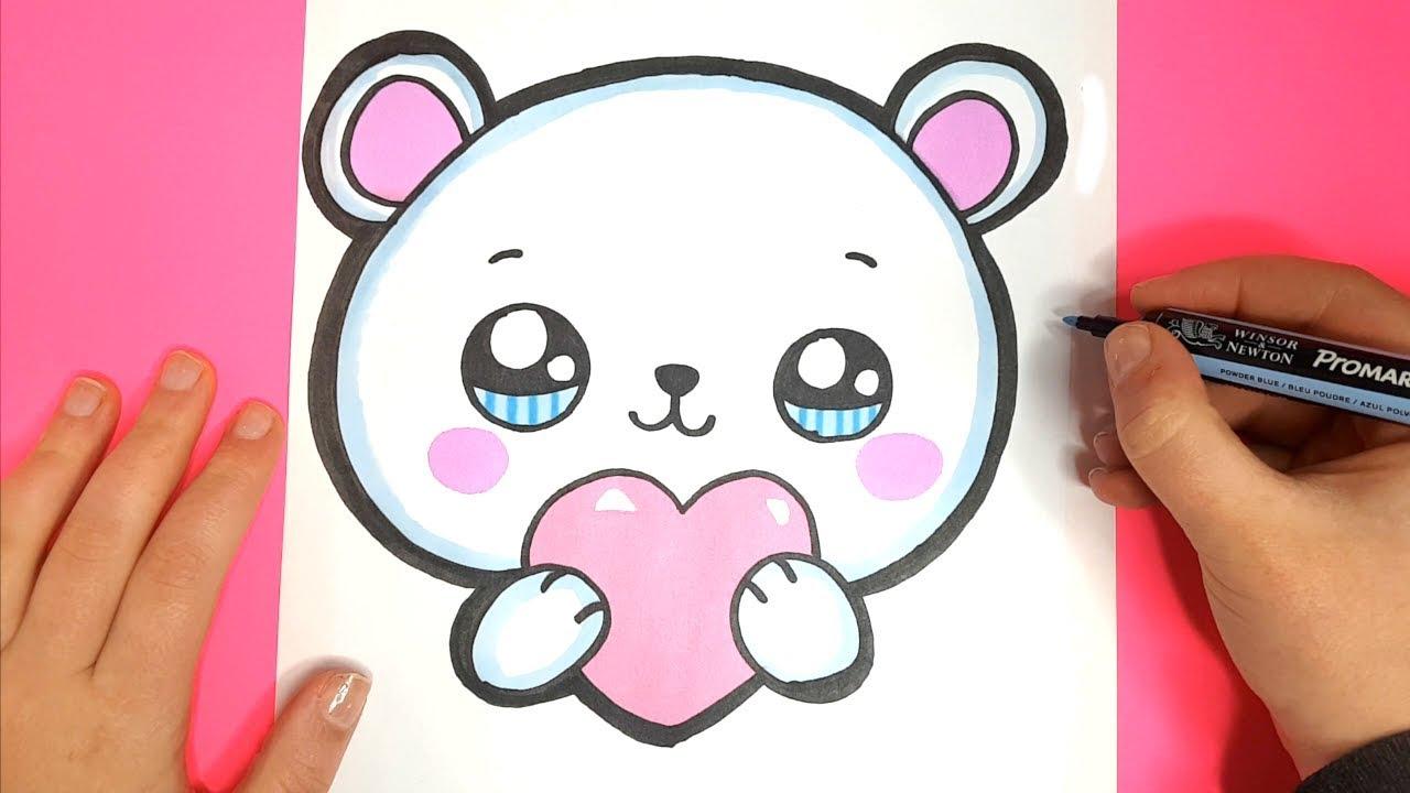 How to Draw a Cute Polar Bear EMOJI with a LOVE Heart ...