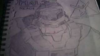 "Halo: Reach Drawing - ""Noble Six (Bungie)"""