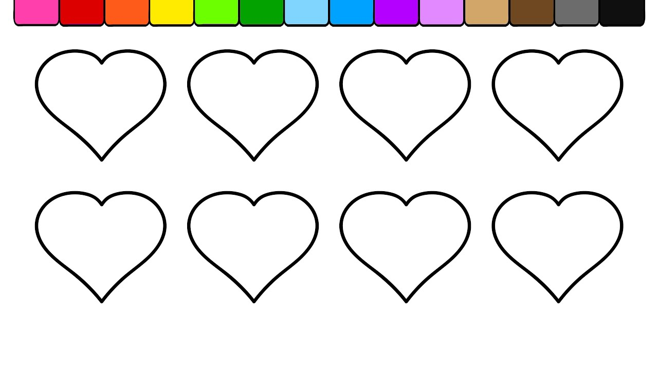 learn colors for kids and color hearts coloring page youtube