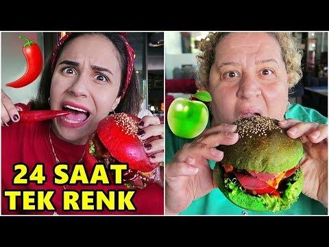 BİR GÜN BOYUNCA TEK RENK YEMEK YEDİK !! (Kırmızı Hamburger,Yeşil Makarna)