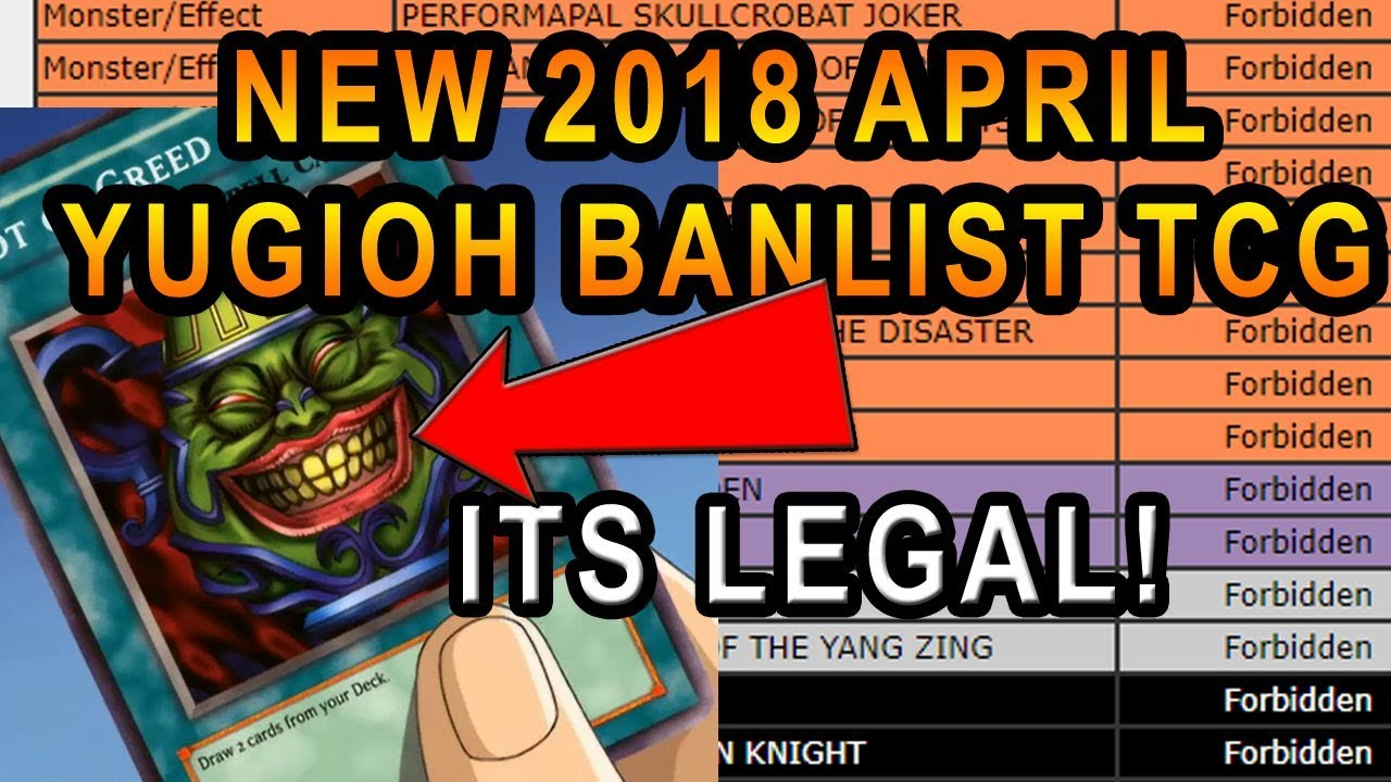 Yugioh Ban List April 2020.Live Reaction To New April 9th 2018 Tcg Banlist Pot Of Greed It Back April Fools 2018