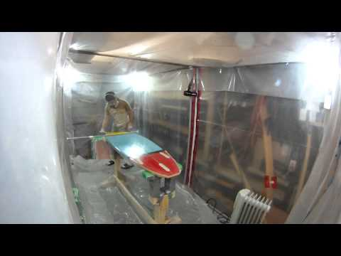 How to Build a Shortboard Surfboard - 27 - Hotcoating Bottom