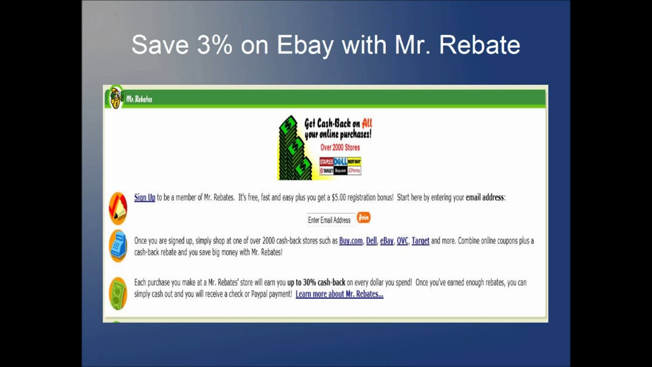 4e71d2c4c41 Use Mr. Rebate to save 3% on EBay and up to 5% on other stores - YouTube