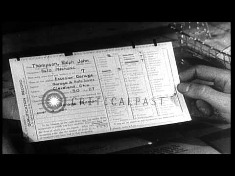 Personnel files for US Army soldiers.  A  Personnel officer examines qualificatio...HD Stock Footage