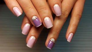 Дизайн ногтей гель-лак Shellac - дизайн ногтей со стразами (уроки дизайна ногтей nail art design)