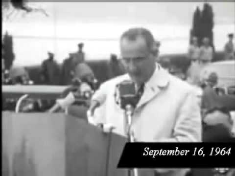 President Lyndon B  Johnson speaking at the Peace Arch Sept 1964