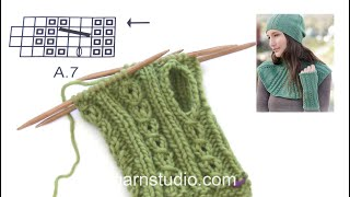 How to knit A.7 and thumb hole in DROPS 164-39