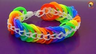 Браслет из резинок. Красивый и простой! Радугой / Loom Bands weaving bracelet