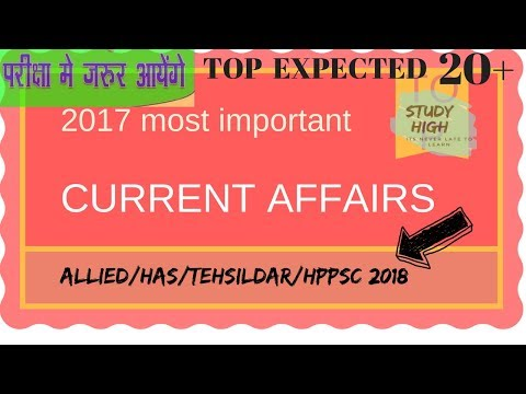 Top 20 + Current Affairs 2017 most expected for any Exam  STUDY HIGH
