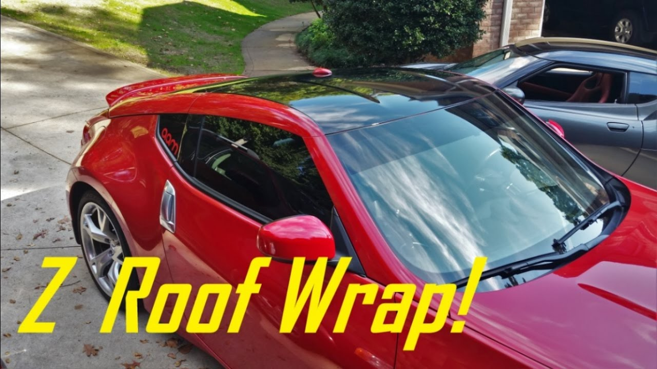 How To Vinyl Wrap Your Car S Roof 370z Roof Wrap Youtube