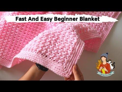 How To Crochet Fast And Easy Beginner Blanket