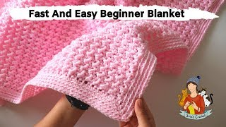How To Crochet Fast And Easy Beginner Blanket