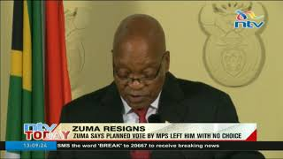 South Africa's president resigns ahead of confidence vote in parliament