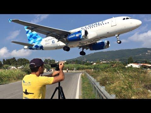 Cobalt Airbus A319 Low Landing & Takeoff JETBLAST at Skiathos Airport   JSI Plane Spotting & ATC