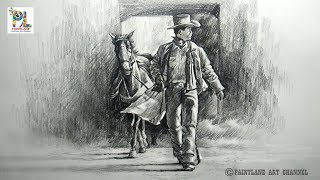 How to Draw and Shade Cowboy Walk With A Horse With PENCIL | Step by Step