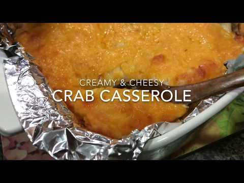 Creamy & Cheesy Crab Casserole Recipe/Cooking & Eating Sounds- ASMR