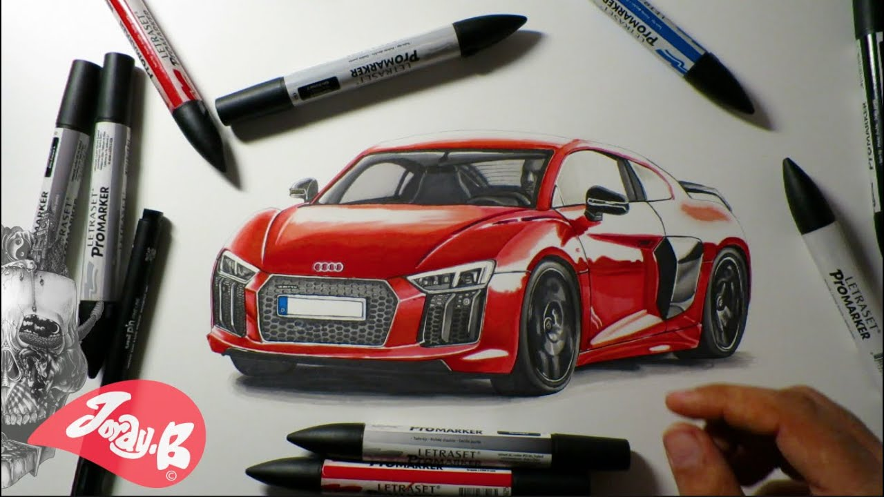 Drawing The All New Audi R8 With Promarkers Youtube